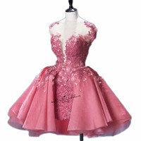 Christmas Pink Short Prom Dress Puffy Lace Applique 3D Flowers Vintage Mini Homecoming Party Dresses for Sweet Girls Teens Gala