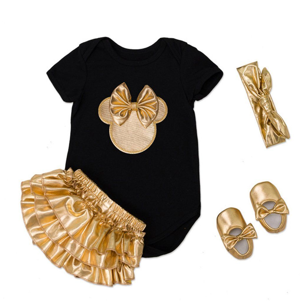 Infant Baby Girls Mouse Romper Tutu Skirt Headband Shoes Gold Minnie Clothes 4pcs Set Romper Divided Skirt Headband Shoes