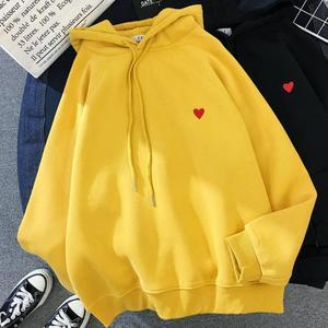 Winter Women Fashion Hoody Sweatshirt Embroidery Harajuku Love Heart Fleece Lady Hoodie Loose Long Sleeve Female Casual Pullover