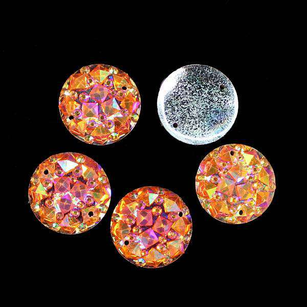Hot 20Pcs16mm Mix Color AB Resin Mineral Surface Flat Round Resin Accessories FlatBack Appliques/Wedding DIY Craft Button