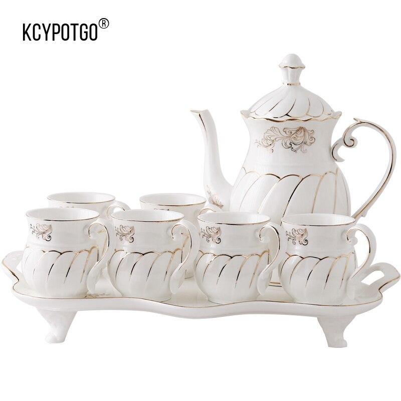 De style européen haut de gamme salon tasse ensemble, or-plaqué famille café tasse de thé mis tasse D'eau (8 pcs/ensemble)