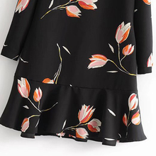 JuneLove 2018 spring women loose casual print dress long sleeve O Neck female ruffle dress cotton draped women knee length