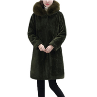 Large size winter Hooded Wool Coats Women Long Sleeves Cardigan Female Fur Trench Coat clothes Imitation lambs wool