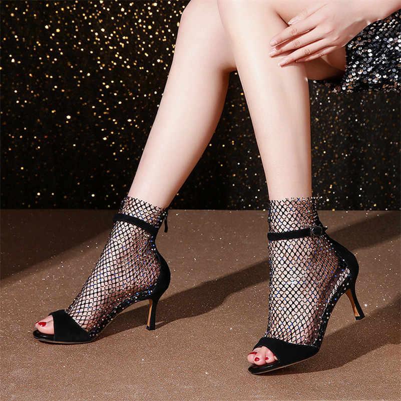 FEDONAS/модные женские летние сапоги; вечерние туфли со стразами на высоком каблуке; женские замшевые Летние Босоножки с открытым носком; туфли-лодочки