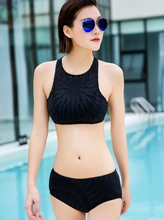 july sand mesh panel round neck low wait bikini set