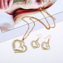 HOCOLE New 2018 Double Heart Rhinestone Crystal Jewelry Sets Gold Silver Color Pendant Necklaces Drop Earrings For Women