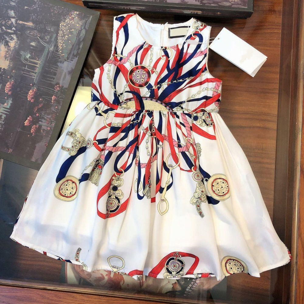 2019 Fashion luxury brand design Style children girl dress Ribbon Pattern Print princess dresses for girls Sleeveless2019 Fashion luxury brand design Style children girl dress Ribbon Pattern Print princess dresses for girls Sleeveless