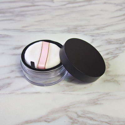 10pcs/lot 20g Empty Black Cosmetic Loose Powder Case Makeup Refillable Container Bottle with Sifter & Puff & elastic mesh cloth bob cosmetic makeup powder w puff mirror ivory white 02