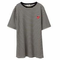 MERRY PRETTY 2018 Spring Summer Women Striped Long T Shirt Casual Heart Appliques Short Sleeve Cotton