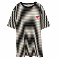MERRY PRETTY 2018 Spring Summer Women Striped Long T Shirt Casual Heart Appliques Short Sleeve Cotton