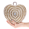 Wedding Bride's Handbags Luxurious Purse Beaded Diamonds Evening Bags Ring Rhinestones Day Clutches Heart Design Pearl Bag