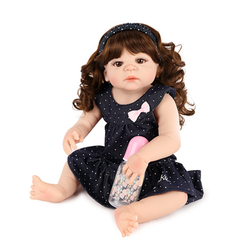 "Reborn toys for girls 23"" 57cm curly hair full body silicone reborn baby doll alive children birthday gift bebes reborn toddler"