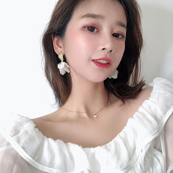 White Shell Flower Petal Drop Earrings For Women 2019 New Statement pendientes Trendy Jewelry 5