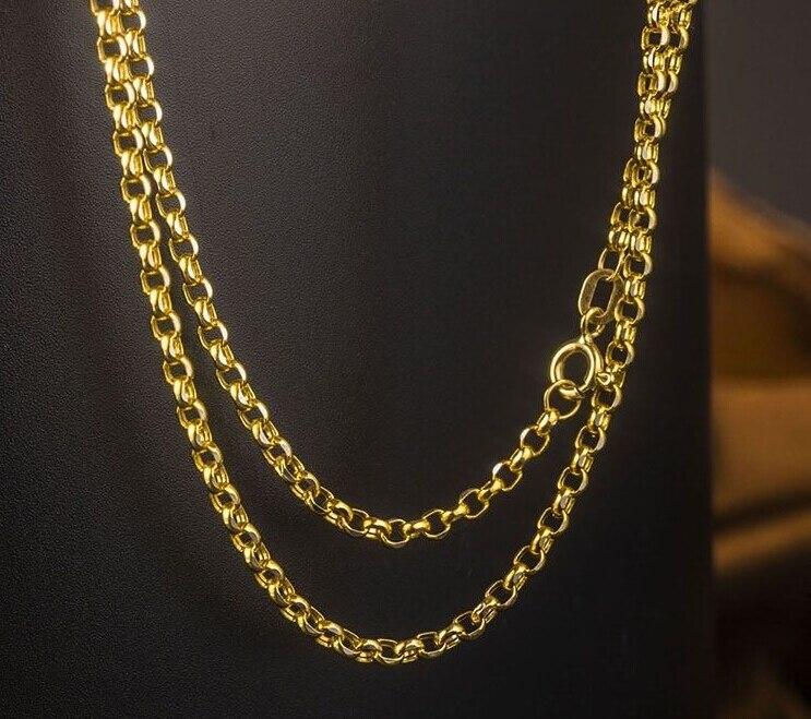 Autentico Solido Oro Giallo Collana A Catena/Collana Della Catena del Cavo/2.11g