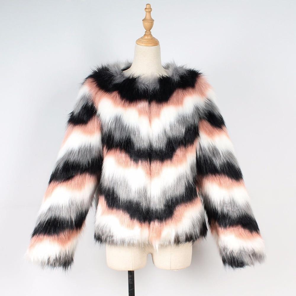 Manteau Solide 2018 O Fourrure Mode Mince De New Blanc Court Fausse Femmes À Vestes En cou Hiver Imitation Manteaux Femelle Rayé n6zrIq61