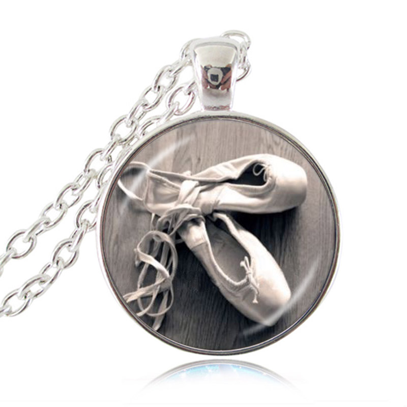 Dancing Ballet Dancer Shoes Pendant Necklace Charm Jewelry Gift for Little Sisters BFF Friends Girls Teens Women Accessories