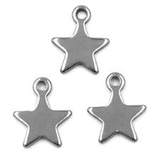 100Pcs Silver Tone Star Etoile Pentagram Stainless Steel Breloque Pendants DIY Jewelry Making Findings Charm 10x8mm