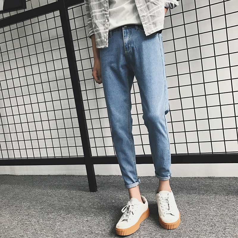 Spring And Autumn Korean Version Skinny Jeans Fashion Casual Pantsuit With Nine-cent Pants Man 2019 Men Jeans