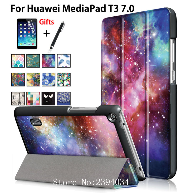 PU Leather fashion Case for Huawei MediaPad T3 7.0 BG2-W09 Smart Cover Stand Funda Tablet for Honor Play Pad 2 7.0 +Film+Pen mediapad m3 lite 8 0 skin ultra slim cartoon stand pu leather case cover for huawei mediapad m3 lite 8 0 cpn w09 cpn al00 8