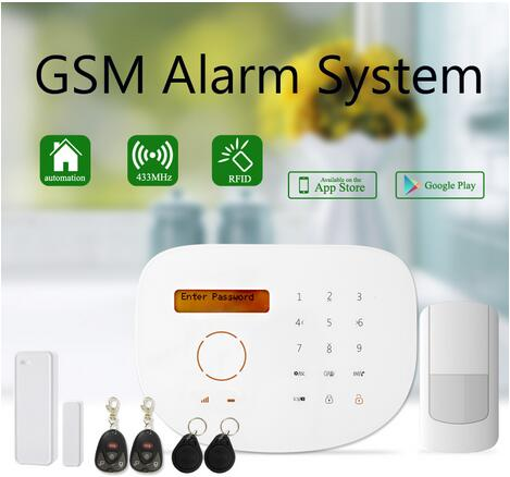 ФОТО Wireless GSM Alarm System Smart Alarma Support iOS App/ Android App Alarmes With RFID Keyfobs 2-Way Door Magnetic Sensor