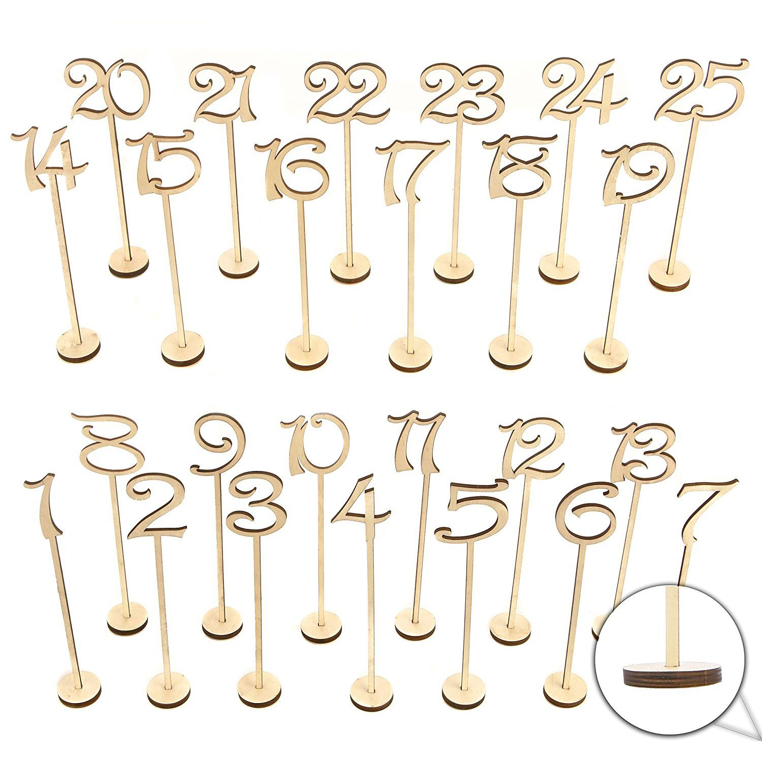 NOCM-Wooden Wedding Table Numbers 1-25 pcs Vintage Home Birthday Party Event Banquet Decor Anniversary Decoration Favors Signs