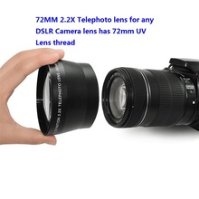 цена на Professional HD 72mm 2.2x Telephoto Lens + Lens Bag for Canon Nikon Pentax Olympus Any DSLR with 72mm Filter Size Lens thread