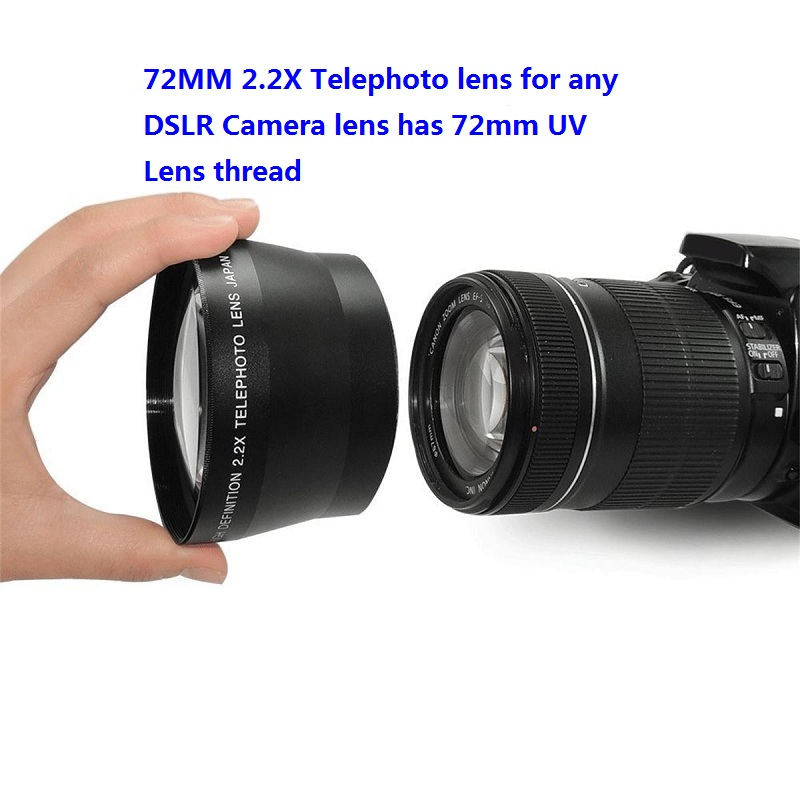 Professionale HD 72mm 2.2x Teleobiettivo + Lente del Sacchetto per Canon Nikon Pentax Olympus Qualsiasi DSLR con 72mm Obiettivo Dimensione del Filtro discussione