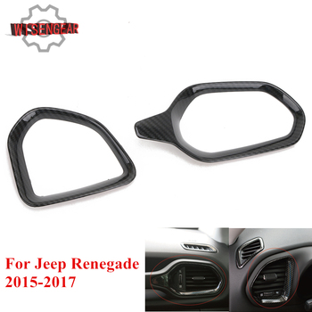 WISENGEAR For Jeep Renegade 2015-2017 Front Air Conditioning Outlet Vent Cover Trim Carbon Black Car Interior Decoration #CEK116 image