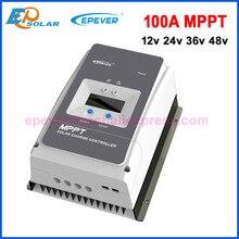Controlador de carga Solar 100A EPever MPPT, retroiluminación LCD de 12V, 24V, 36V y 48V para entrada máxima de 200V PV, Registro en tiempo Real 10415AN 10420AN