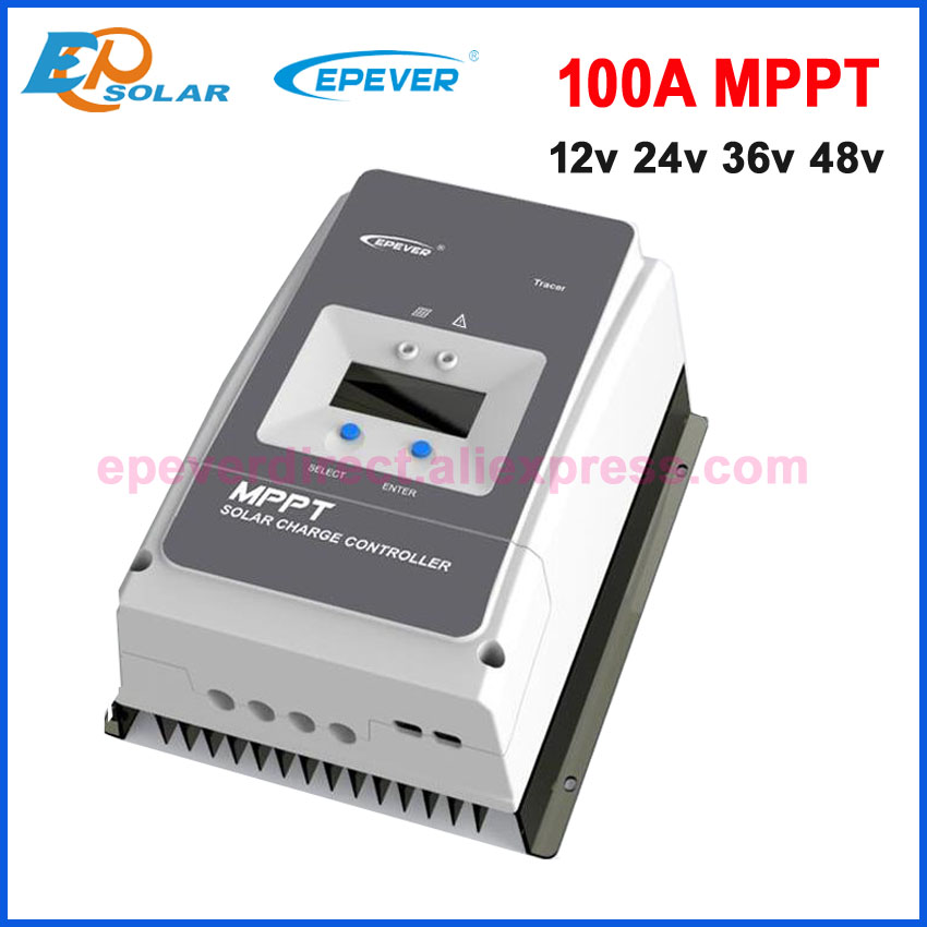 EPever MPPT 100A Solar Charge Controller 12V 24V 36V 48V Backlight LCD for Max 200V PV Input Real time Record  10415AN 10420AN-in Solar Controllers from Home Improvement    1