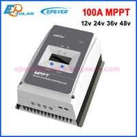 EPever MPPT 100A Solar Charge Controller 12V 24V 36V 48V Backlight LCD for Max 200V PV Input Real time Record 10415AN 10420AN