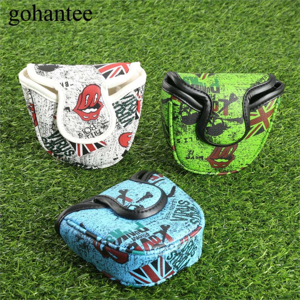1Pc PU Leather Golf Mallet Putter Headcover With Magnetic Closure Colorful Golf Headcover Putte Cover White/ Green/ Blue Sports
