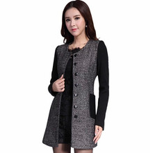 Single-breasted Wool-Blend O neck thick Woolen coat women Outerwear Spring jacket
