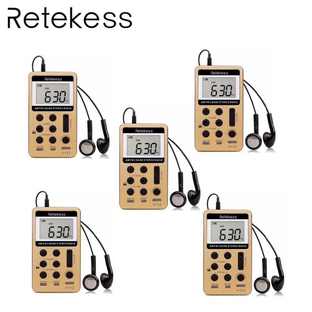 5 pièces Nouvelle V112 Poche FM/AM Numérique Tuning Radio Mini poche Récepteur batterie rechargeable et Écouteurs Micro-Radio FM usb