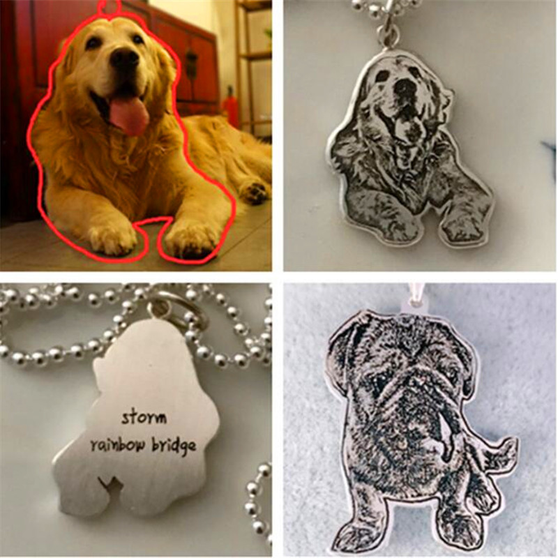 Handmade custom dog necklace cat necklace Photo custom pet necklace jewelry 925 sterling silver Necklace for birthday gift