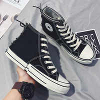 2019 spring and summer new male student fashion Korean version of three-color stitching two-layer high-top canvas shoes