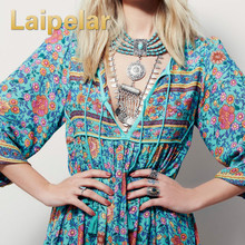 Laipelar Plus Size Bohemia Maxi Dress 2018 New Arrival V Neck Botanic Floral Ethnic Gypsy Style Hippie Vestido Women XL