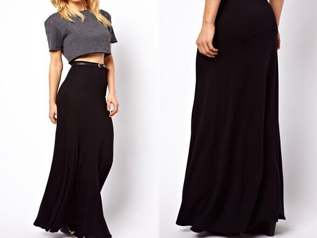 08832d20428 Summer Black Long Skirt For Women Maxi Skirt 7XL Plus Size Saia Faldas  Pleated Skirts Womens