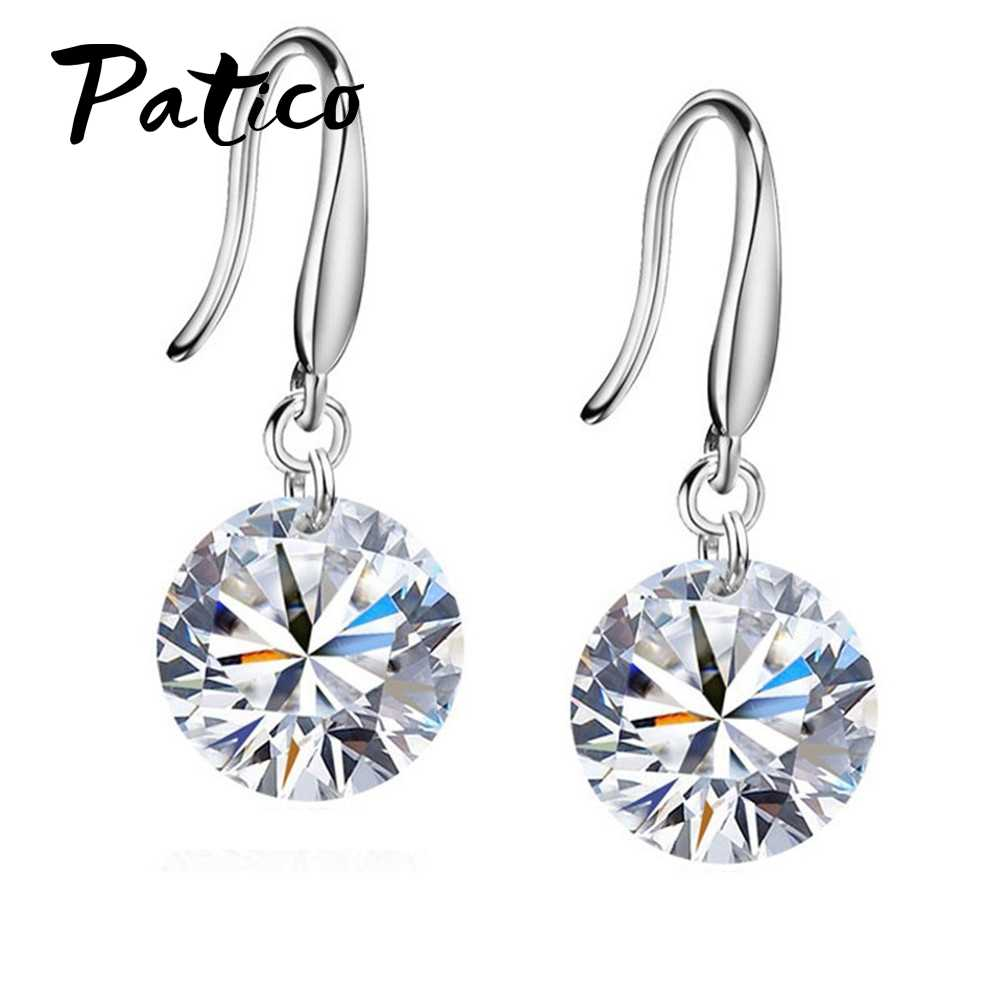 Promotions!! Good Quality 925 Sterling Silver 10MM Shining Crystal Woman Girl Candy Hook Dangle Earrings Gifts Colors