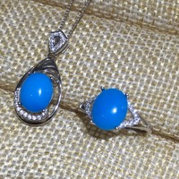 Natural Blue Turquoise Jewelry Set For Women Real 925 Sterling Silver Fine Jewelry White Gold Color
