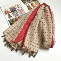 Diamond Polka Dot Head Shawls Women w/ Tassels Handkerchief Journey BOHO Scarf Brand New