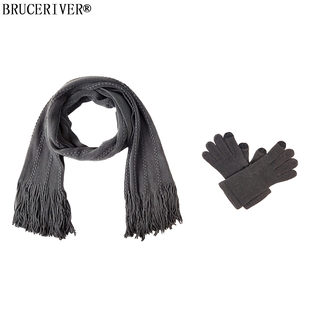 Bruceriver Women's Knit Scarf & Glove Set Cashmere Feel Cable Design And Touchscreen Function