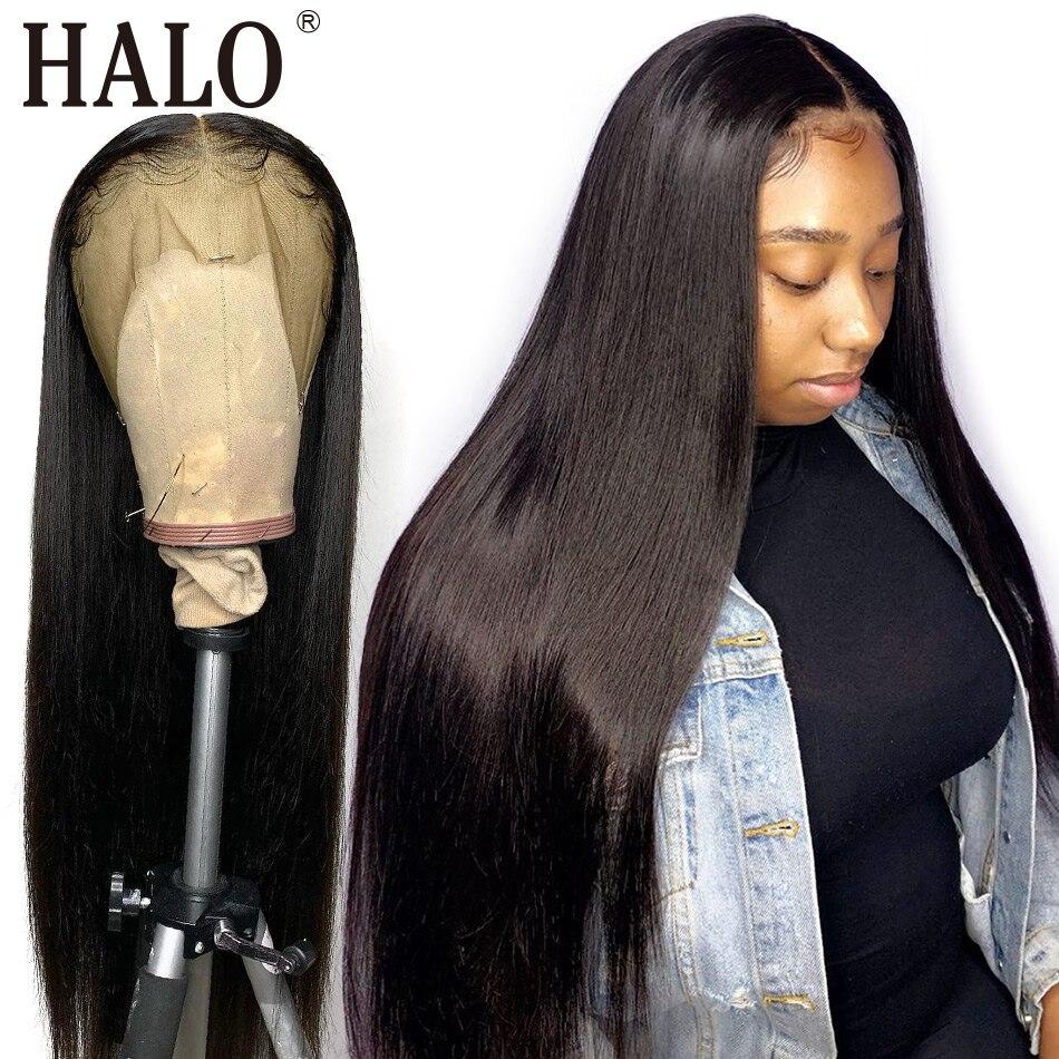 Halo cheveux droit dentelle avant perruque 8-28 30 34 pouces 360 dentelle frontale perruques pré plumé avec bébé cheveux 150% densité non-remy