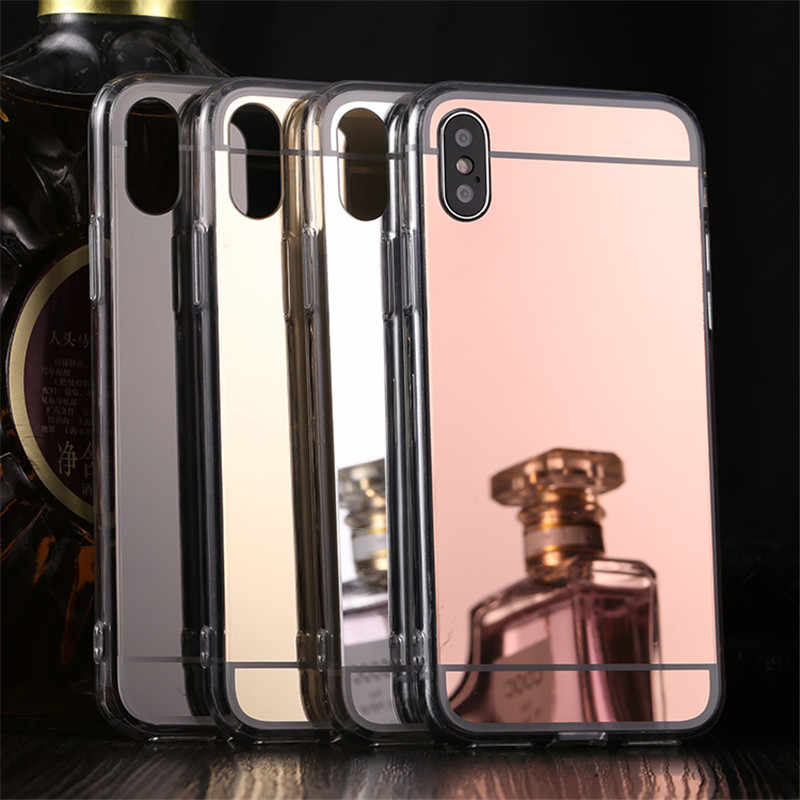 2c7dc32df5 Luxury Mirror TPU Case for iphone X Xs Max XR Rose Gold Plating Makeup Back  Cover