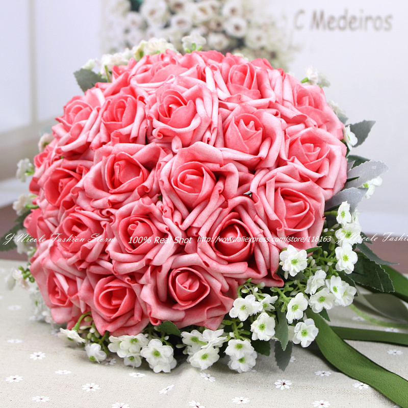100% Hand made Artificial Flowers Roses Bridal Bouquet Bride Silk ...