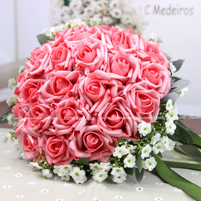 100% Hand made Artificial Flowers Roses Bridal Bouquet Bride Silk ...