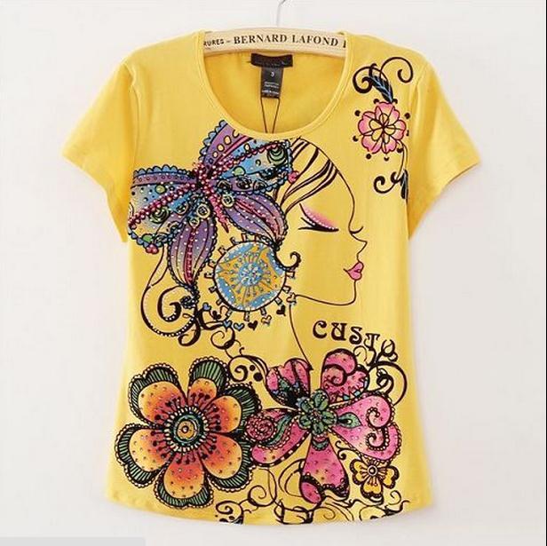 Free shipping good quality kashitu brand design new york style cotton blue  yellow print t shirt for lady girl women f7f1e035384