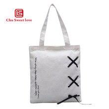 Girls casual canvas bag trend portable shopping environmentally friendly folding shoulder tote