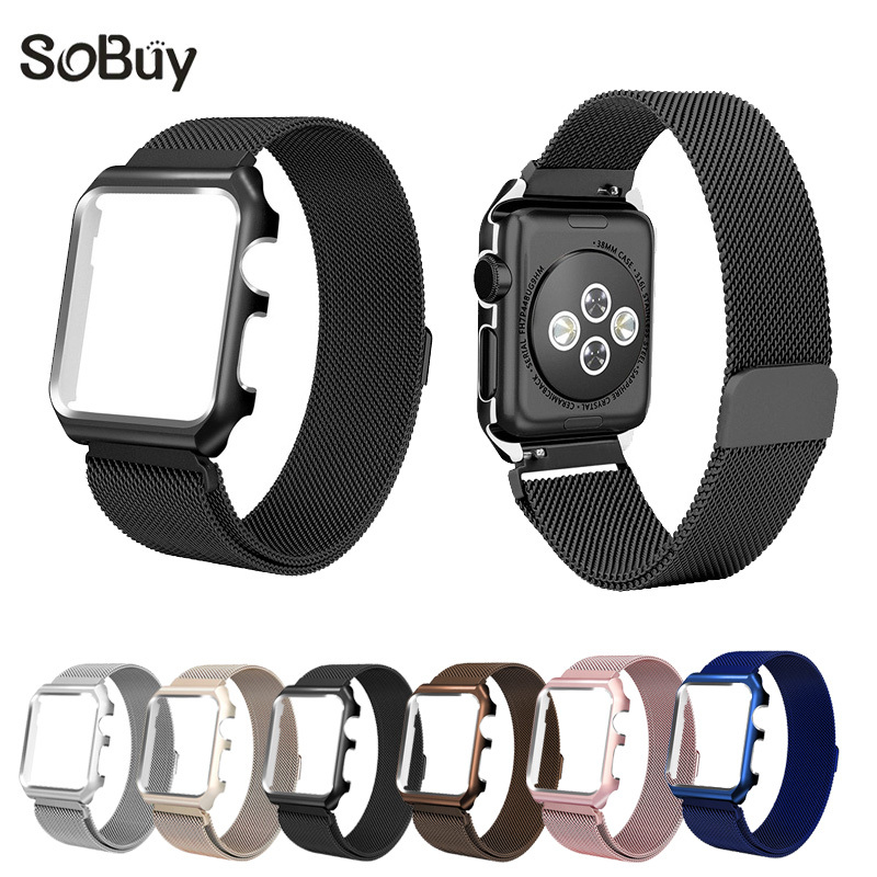 Lxsmart Milanese Loop Strap Stainless Steel band For Apple Watch  42 mm 38 wristband Link Bracelet iwatch 1 2 3 metal with case v moro stainless steel milanese loop band for apple watch 38mm 42mm with strap adapter