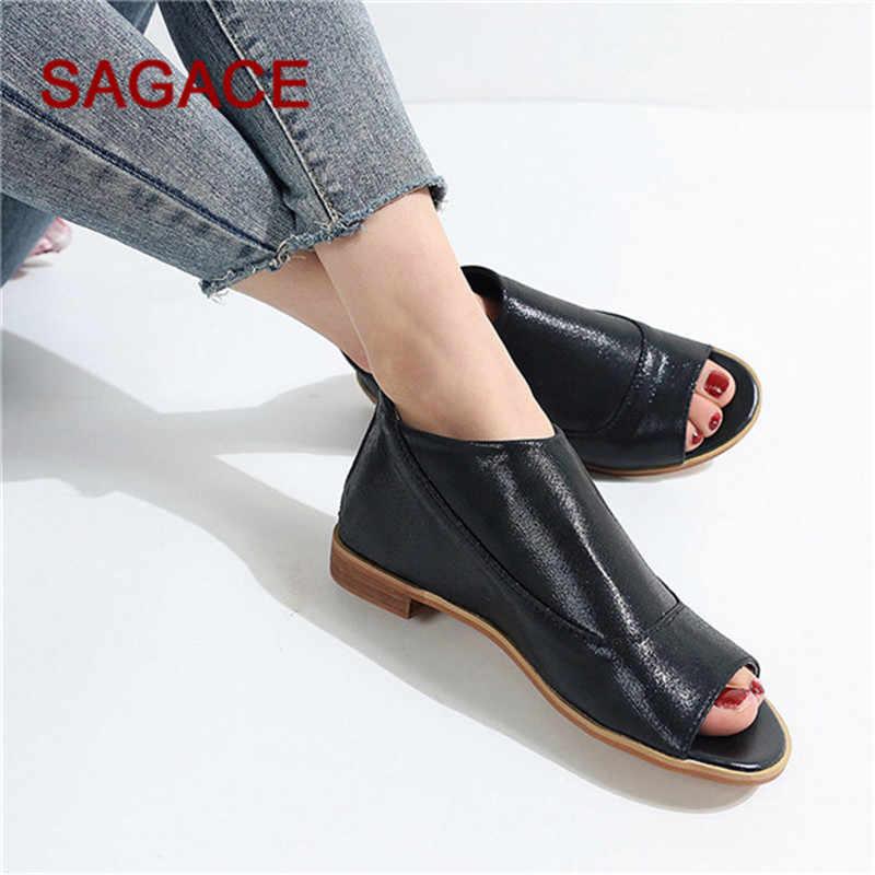 B-SAGACE sandalet kadın roma kare topuk fermuar Peep Toe ayakkabı rahat nefes plaj sandaletleri Sandalia Feminina 2020